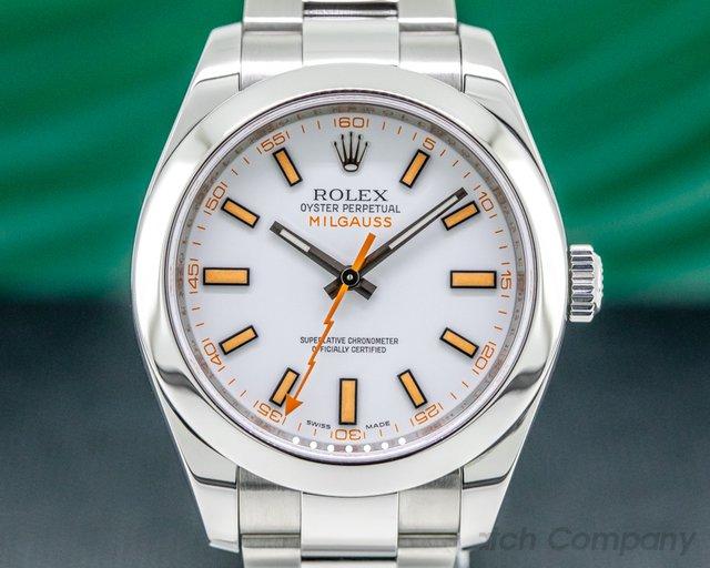 Rolex 116400 Milgauss SS White Dial