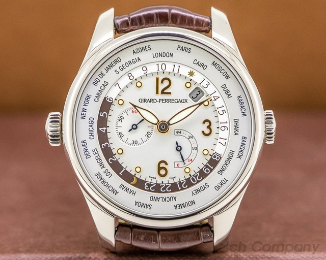 Girard Perregaux 49850-53-151-BA6A World Time WW.TC Power Reserve Silver Dial / White Gold