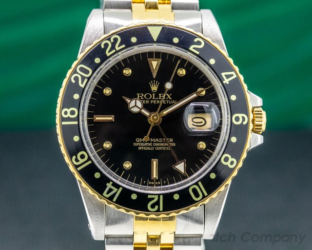 Rolex 16753 GMT Master Black Nipple Dial 18K / SS Jubilee