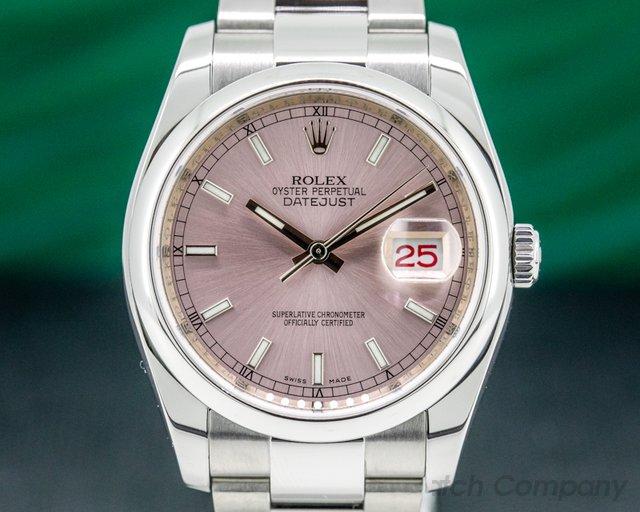 Rolex 116200 Datejust Pink Stick Dial SS Oyster Bracelet