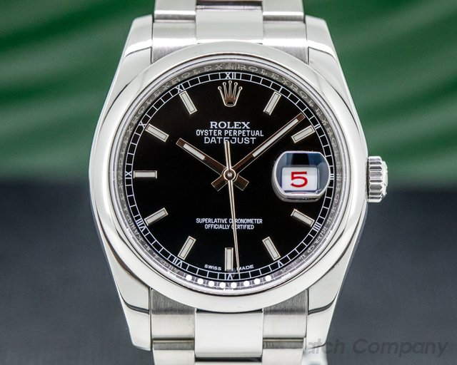 Rolex 116200 Datejust Black Stick Dial SS / SS