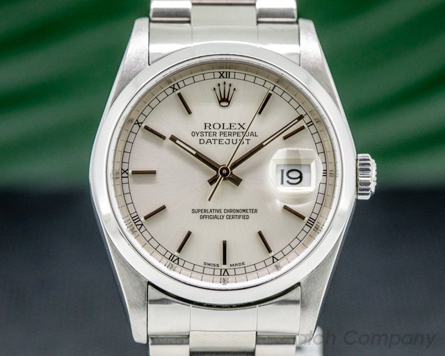 Rolex 16200 Datejust Silver Stick Dial SS Oyster FULL SET
