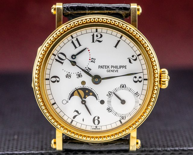 Patek Philippe 5015J Moonphase Power Reserve 18k Yellow Gold Hobnail Bezel