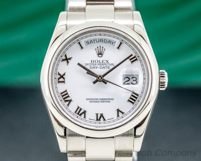 Rolex 118209 Day Date Oyster President White Roman 18K White Gold