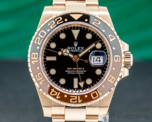 Rolex 126715 CHNR GMT Master II 18K Everose Ceramic Root Beer
