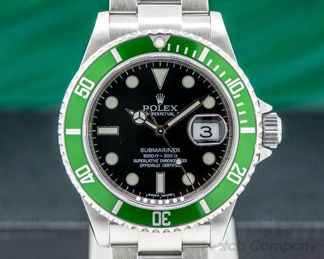 Rolex 16610T Submariner 50th Anniversary SS Green Bezel