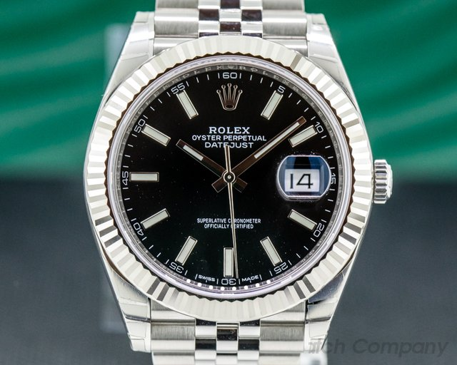 Rolex 126334 Datejust 41 Black Stick Dial SS / Jubilee UNWORN