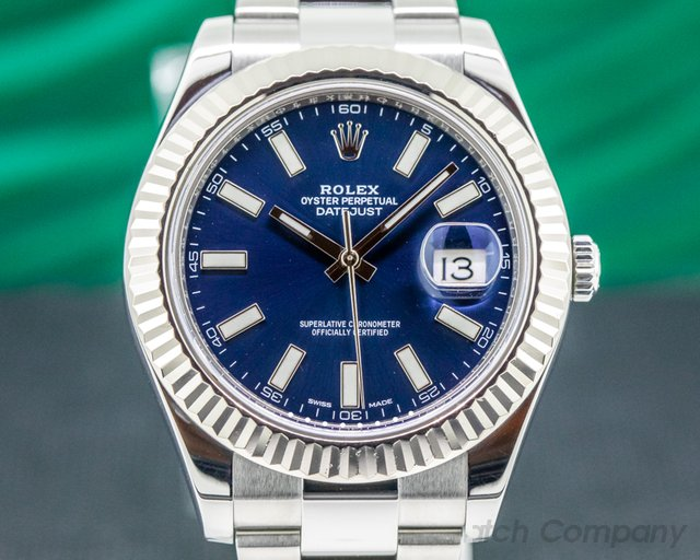 Rolex 116334 Datejust II White Stick Blue Dial SS