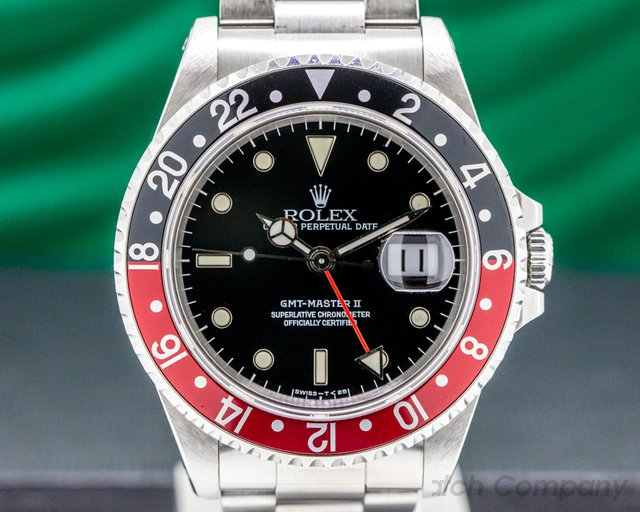Rolex 16710 T GMT Master II SS Red / Black Coke FULL SET NICE