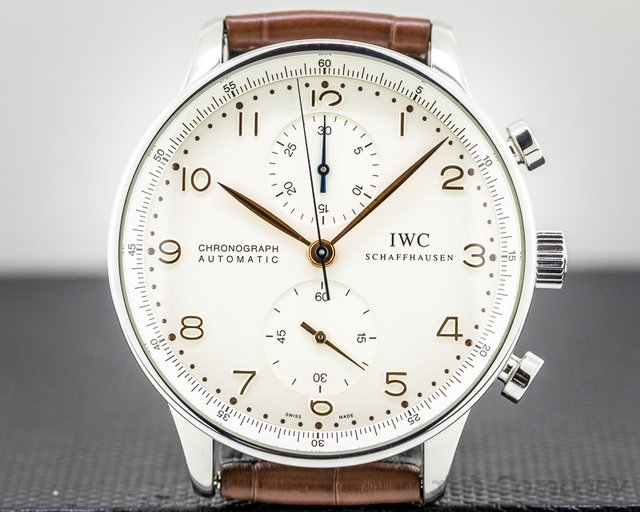 IWC IW371445 Portuguese Chronograph SS Silver Dial / Gold Numerals