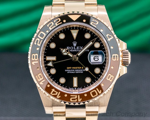 Rolex 126715 CHNR GMT Master II 18K Everose Ceramic Root Beer UNWORN