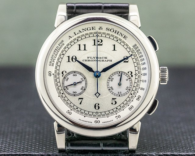 A. Lange and Sohne 401.026 1815 Flyback Chronograph 401.026 Silver Dial 18K White Gold