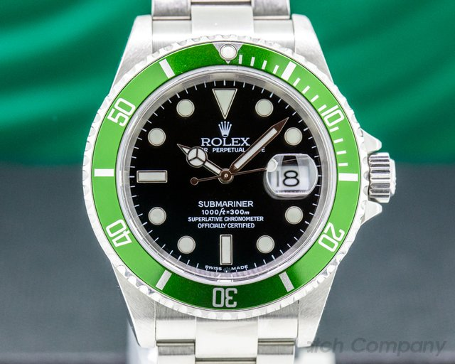"Rolex 16610LV Submariner 50th Anniversary ""Flat 4"" Green Bezel FULL SET"