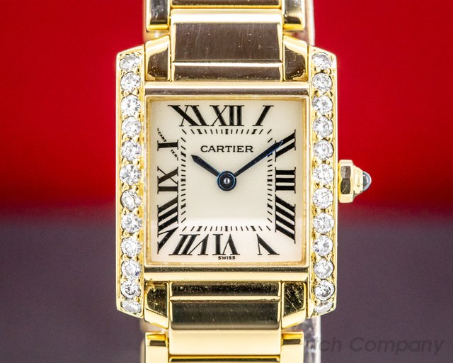 Cartier WE1001R8 Ladies Tank Francaise 18K Yellow Gold / Diamond Bezel