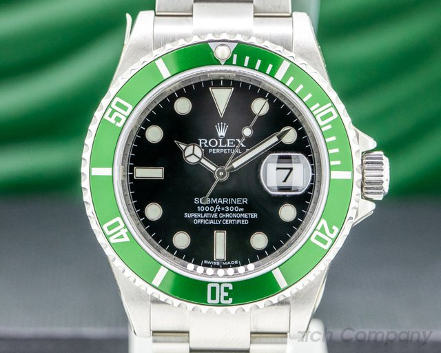 Rolex 16610LV Submariner 50th Anniversary SS Green Bezel COMPLETE