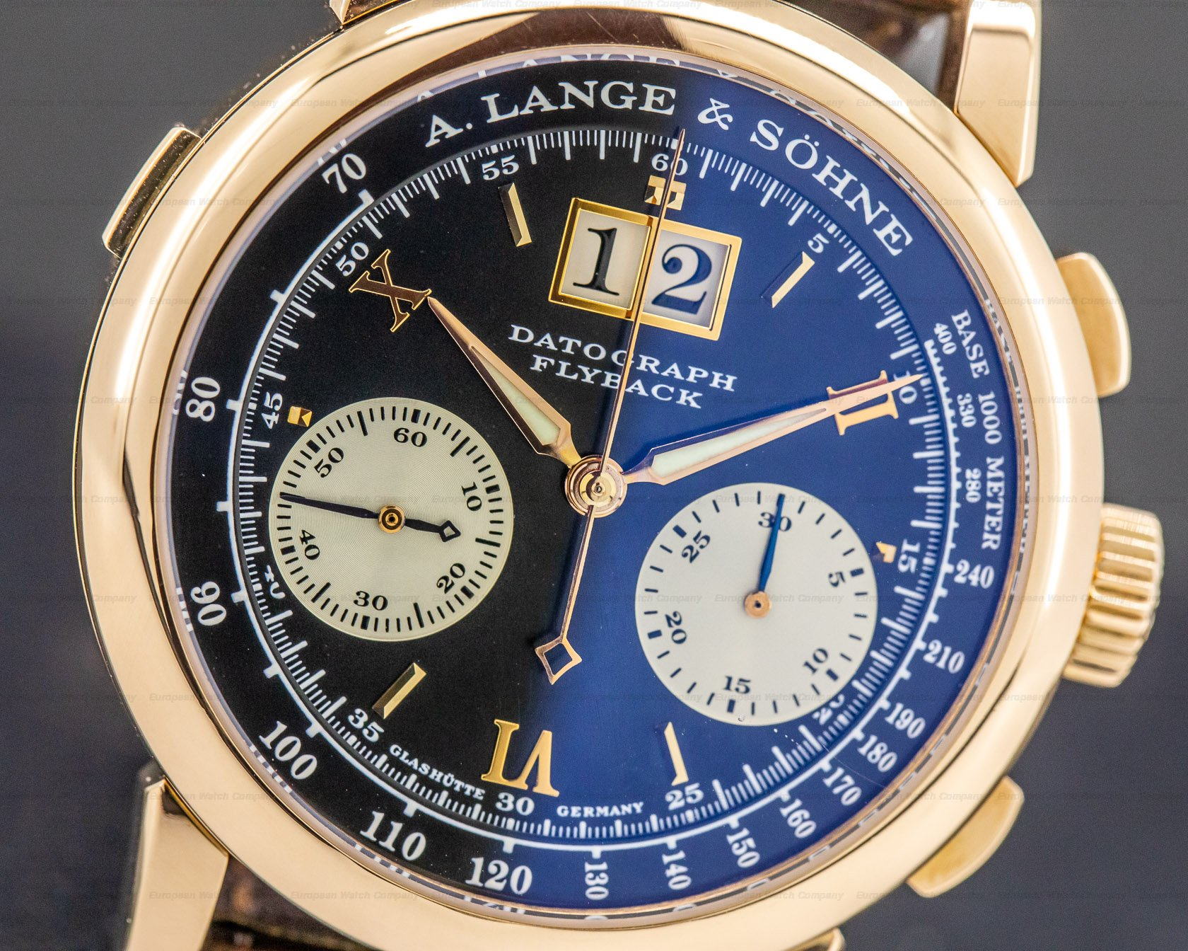 """A. Lange and Sohne 403.031 Datograph 18K Rose Gold Black Dial COMPLETE """"DUFOUR"""""""