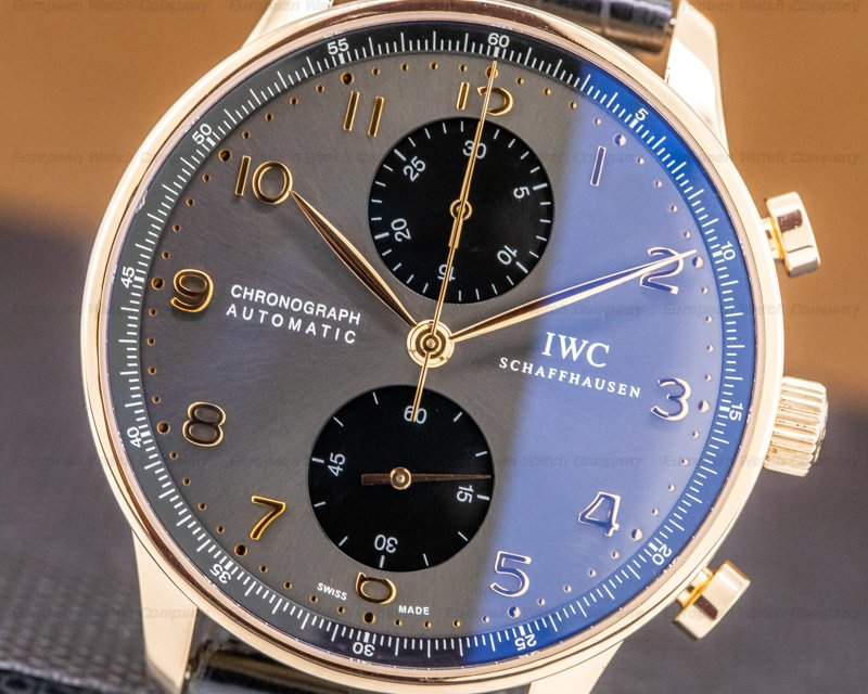 IWC IW371482 Portuguese Chronograph 18k Rose Gold Grey Dial / Gold Numerals