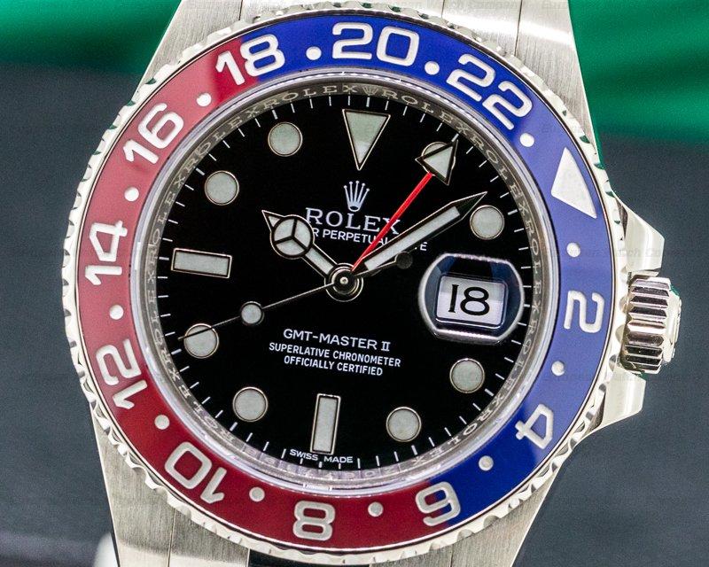 Rolex 116719BLRO GMT Master II 116719 Blue / Red 18K White Gold