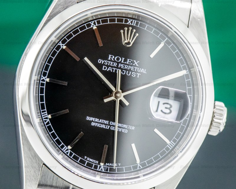 Rolex 16200 Datejust Black Dial SS Oyster