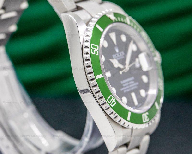 "Rolex 16610LV Submariner 50th Anniversary ""Flat 4"" Green Bezel FULL SET"