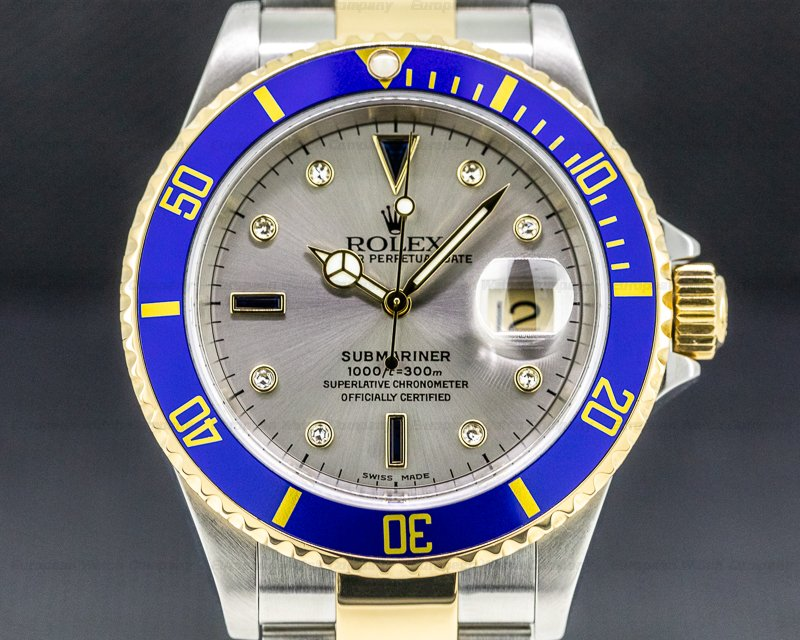 Rolex 16613 Submariner 18K / SS Silver Serti Dial