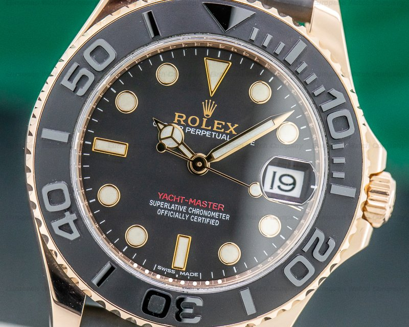 Rolex 268655 Yacht Master 18K Rose Gold / Rubber MIDSIZE 37MM