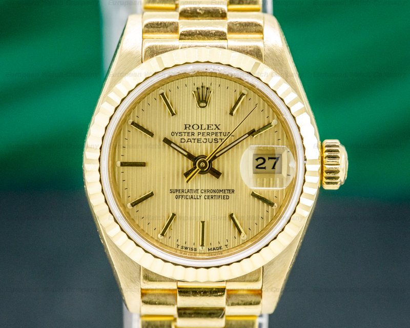 Rolex 69178 Lady Datejust President 18k Yellow Gold Champagne Dial