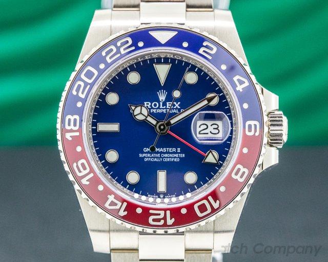 """Rolex 126719BLRO GMT Master II Ceramic """"Pepsi"""" White Gold BLUE DIAL UNWORN"""