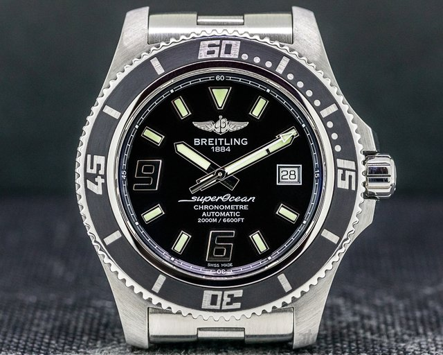 Breitling A17391 SuperOcean 44 Stainless Steel Black Dial