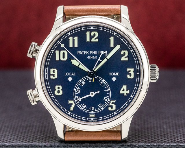 Patek Philippe 5524G-001 Calatrava 5524G Pilot Travel Time 18k White Gold