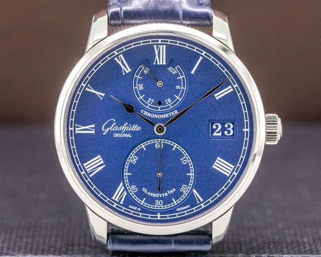 Glashutte Original 1-58-01-05-34-30 Senator Chronometer 18K White Gold Blue Dial