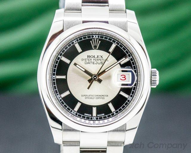 Rolex 116200 Datejust Tuxedo Stick Dial Oyster SS