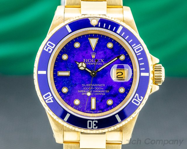 Rolex 16618 LAPIS Rolex Submariner 16618 LAPIZ LAZULI 18K Yellow Gold FULL SET WOW