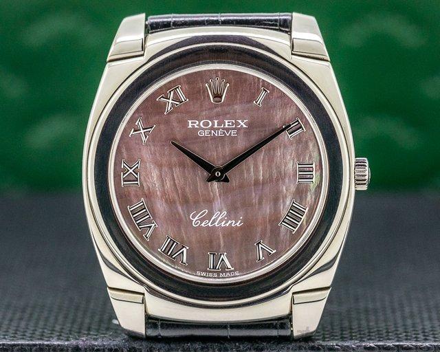 Rolex 5330/9 Cellini Cestello 18K White Gold Black Mother of Pearl