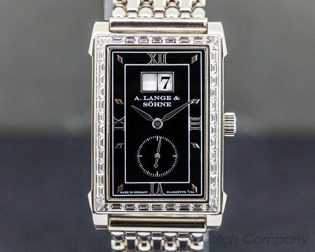 A. Lange and Sohne 808.035 Cabaret 18k White Gold Bracelet Black Dial BAGUETTE BEZEL RARE
