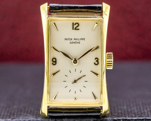 "Patek Philippe 1593 Vintage ""Hour Glass"" 18k Yellow Gold c. 1952"
