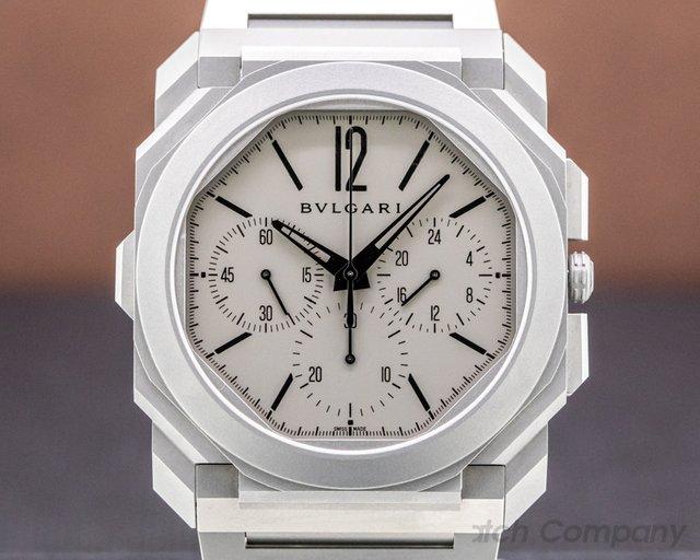 Bvlgari 103068 Octo Finissimo Chronograph GMT Titanium Grey / Black 42MM