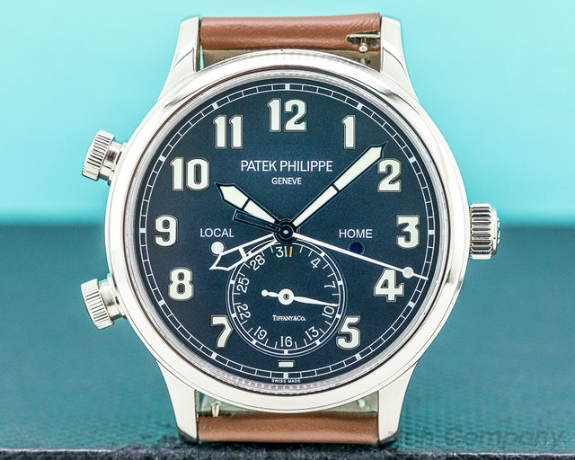 "Patek Philippe 5524G-001 Calatrava 5524G Pilot Travel Time 18k White Gold ""TIFFANY & CO"""