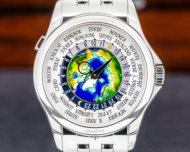 Patek Philippe 5131/1P-001 World Time 5131P Enamel Dial PLATINUM / Bracelet