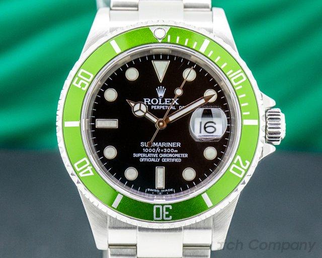 "Rolex 16610LV Submariner 50th Anniversary ""Kermit"" SS Green Bezel"