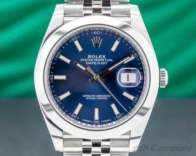 Rolex 126300 Datejust 41 Blue Stick Dial SS Jubilee