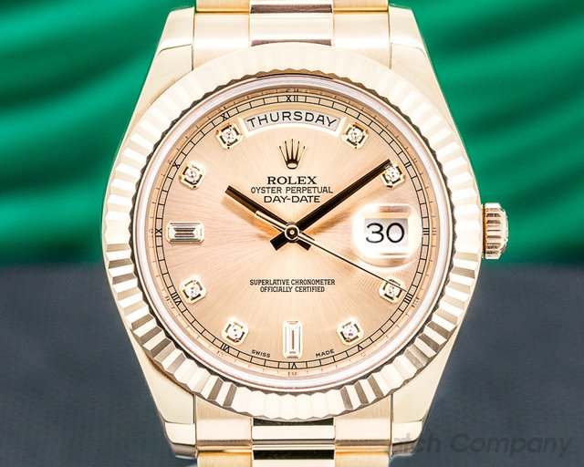 Rolex 218235 Day Date II Presidential Everose Diamond Dial