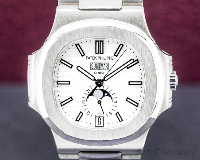 Patek Philippe 5726/1A-010 Nautilus Annual Calendar 5726 Moon White Dial SS FULL SET