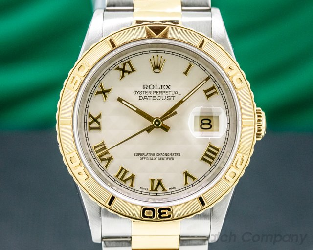 Rolex 16263 Datejust Turn-o-Graph Ivory Pyramid Dial Roman Numerals 18K / SS