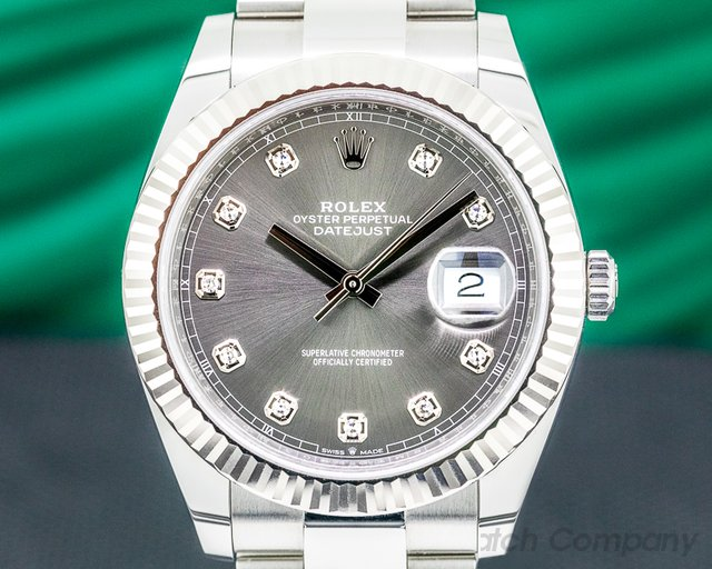 Rolex 126334 Datejust 41 Dark Rhodium Dial DIAMONDS