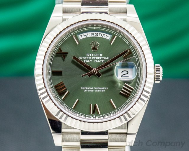 Rolex 228239 Day Date 228239 Presidential 18k White Gold Green Dial 40MM