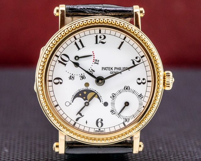 Patek Philippe 5015R Moonphase Power Reserve 18K Rose Gold Hobnail Bezel