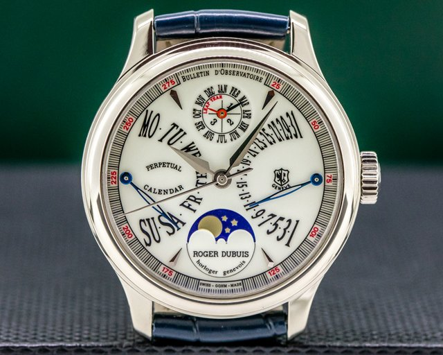 Roger Dubuis H37 5772 0 Hommage 18K White Gold Perpetual Calendar Bi Retrograde LIMITED
