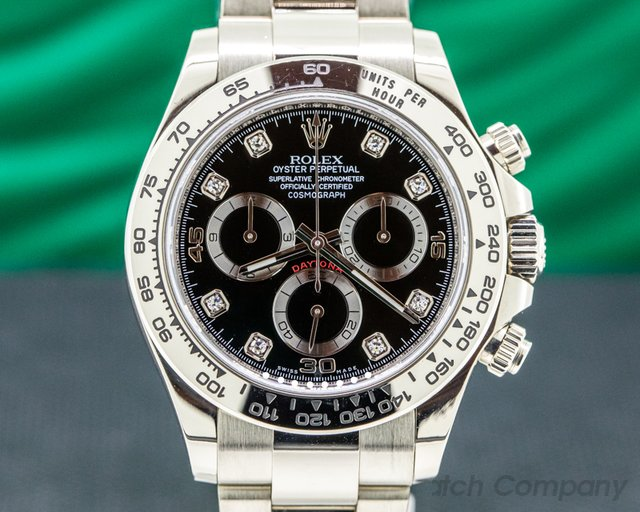 Rolex 116509 Daytona 116509 Black Diamond Dial 18K White Gold
