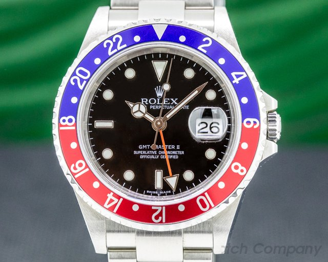 Rolex 16710B GMT Master II SS Red / Blue Pepsi Bezel FULL SET SHARP